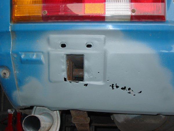 Capri rear valance covered in primer