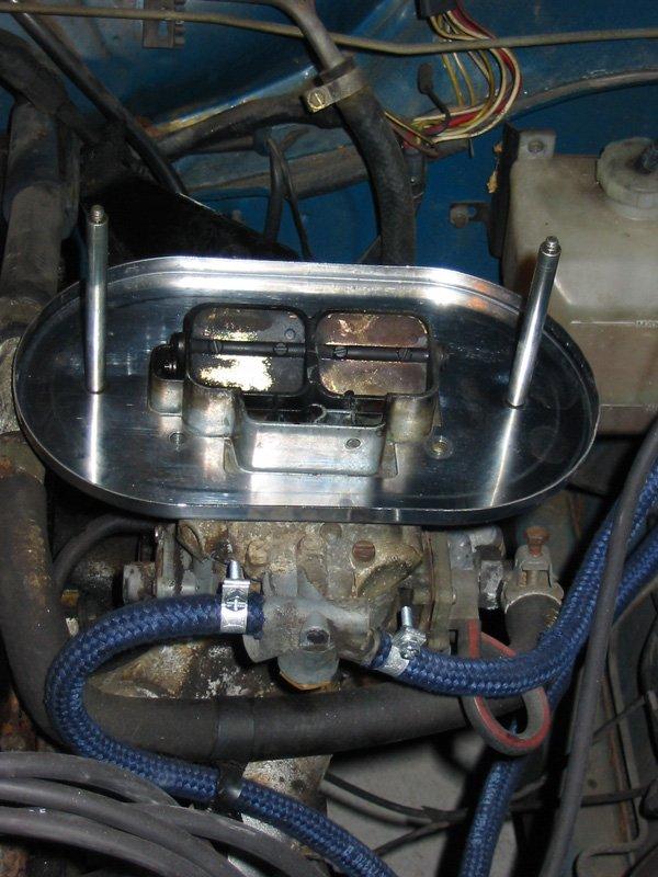 K&N air filter base plate on Capri Weber 32/36