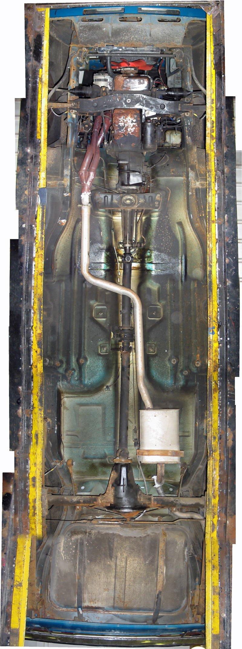Capri underside, engine, drivetrain, propshaft, exhaust and fuel tank composite