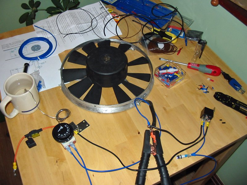 Escort radiator fan wired up on the bench