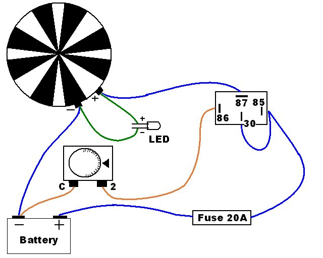 Schematic to wire a radiator fan, thermostatic controller, 30A relay (pin 30, 85, 86, 87) and indicator LED