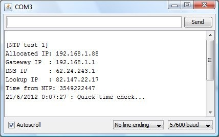 Arduino time set from NTP server