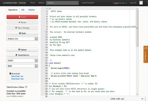 Codebender code editor